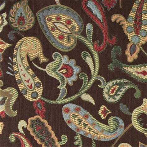 blue red green yellow brown paisley contemporary upholstery fabric   yard traditional