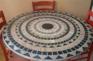 Round Vinyl Tablecloth With Umbrella Hole by Mosaic Stone 48 Round Fitted Tablecloth
