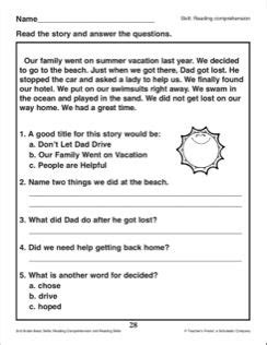 our family went vacation reading passage and comprehension questions 2nd grade reading