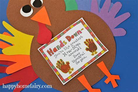 thankful handprint turkey craft  printable happy home fairy