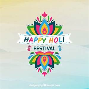Holi festival background with colorful flower Vector ...