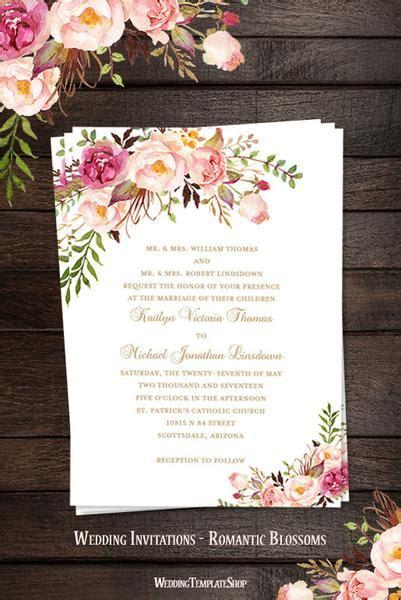 printable wedding invitation romantic blossoms