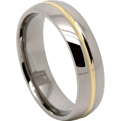 gold centreline titanium wedding ring
