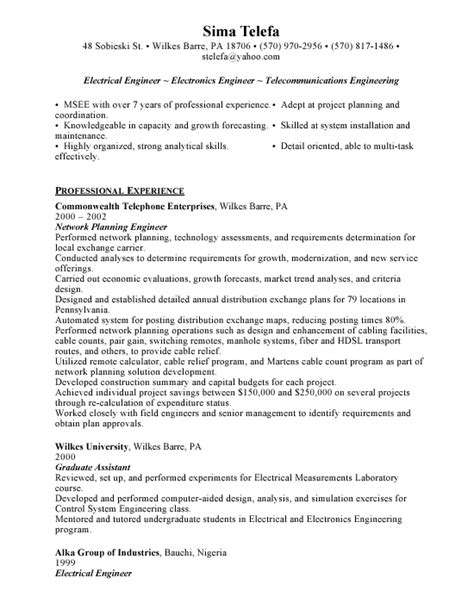 Electrical Engineer Resume Exle by Functional Resume Free Resumes