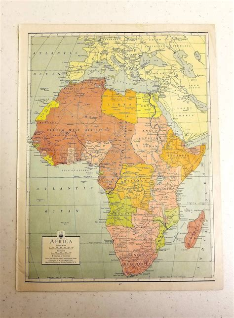 Laminated, framed, magnetic, mounted & more. Vintage 1942 Map of Africa / Map Wall Art / Antique Map ...