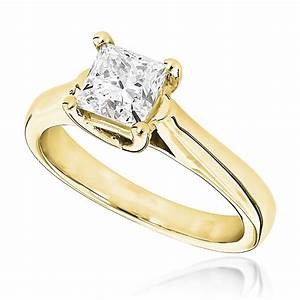 1 carat princess cut solitaire diamond engagement ring 14k With 1 carat wedding rings