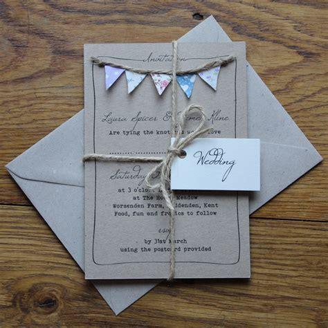 handmade bunting wedding invitations fully personalised