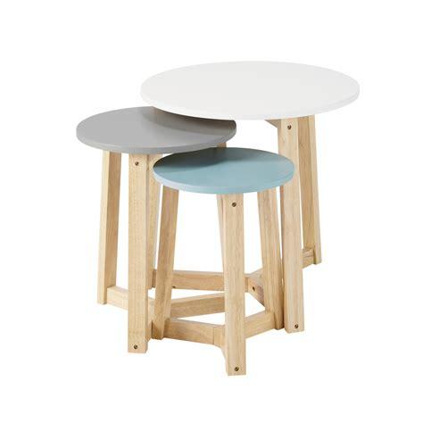 tables basses gigognes vintage en bois tricolores   cm    cm trio maisons du monde