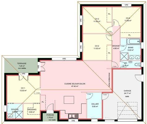 maison plain pied 4 chambres plan plain pied 4 chambres bricolage maison