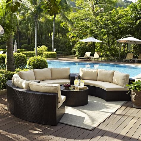 catalina 6 piece outdoor wicker seating set with sand cushions three round sectional sofas