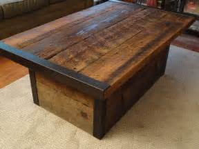 industrial coffee table with usable trunk chest base