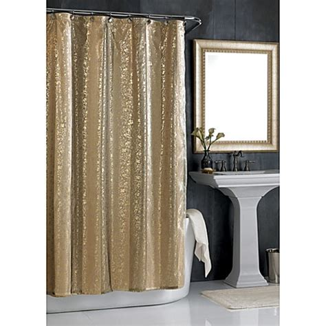gold metallic curtains sheer bliss shower curtain in gold bed bath beyond
