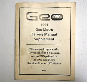 1991 Geo Metro Service Manual Supplement Used Average