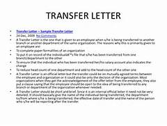 Transfer Letter Transfer Letter Sample Transfer Letter 24 Dec 2009 Sample Of Job Transfer Request Letter Format Cover Letter Templates Sample Job Transfer Request Letter TRANSFER REQUEST LETTER Example Of A Letter Or Email Message Used To