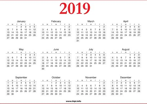 Download 2019 Calendar Printable With