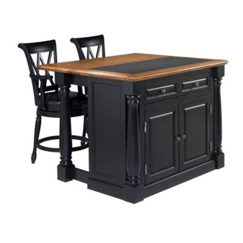 home styles monarch kitchen island in black with oak top