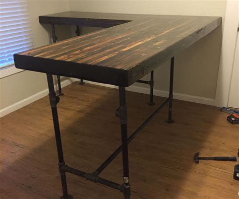 how to make an l shaped desk diy custom standing desk plumbing pipe pipes and desks