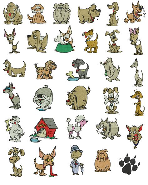 cartoon dogs dog embroidery designs   litle pups