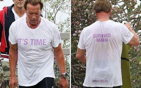 arnold schwarzenegger wears  shirt   survived