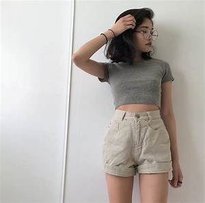 Asian fashion | High waisted short | Crop top | Short hair | Summer style | Idea | Life style ...