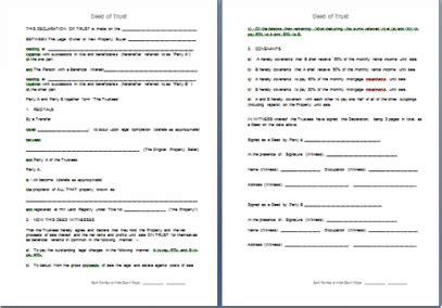 Trust Agreement Template Uk by Free Deed Of Trust To Apportion Beneficial Interest In