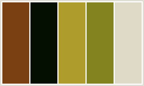 colors that compliment olive green colorcombo383 with hex colors 7a4012 040f01 ae9c2c