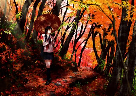 Autumn Anime Wallpaper - autumn road other anime background wallpapers on