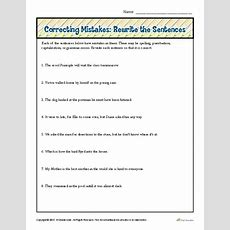 Correcting Mistakes Rewrite The Sentences  Proofing And Editing Worksheets