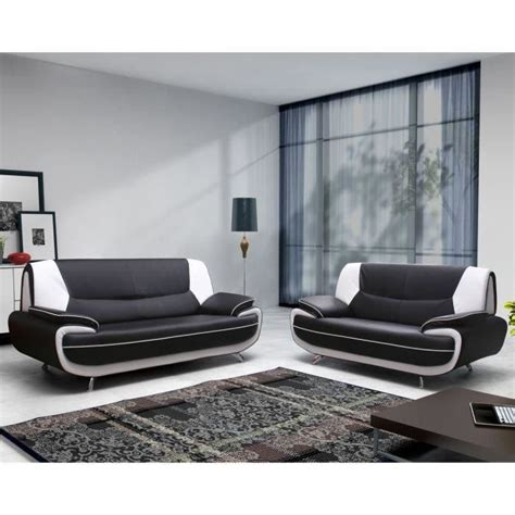 canapé blanc 2 places spacio ensemble canapé 3 2 places noir blanc achat