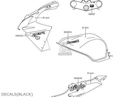 kawasaki zx900e1 zx9r 2000 usa california canada parts lists and schematics