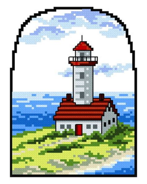 Lighthouse 1 Cross Stitch Pattern Water