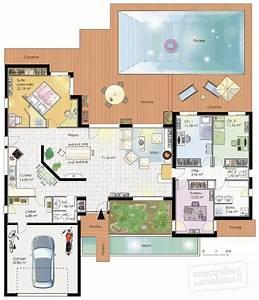 Plan Maison U : maison fonctionnelle d tail du plan de maison ~ Dallasstarsshop.com Idées de Décoration