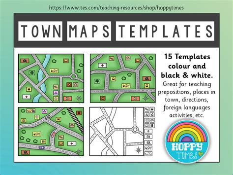 town map templates directions places french teaching