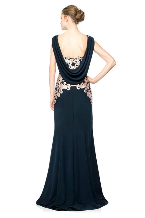 Drape Gowns - crepe draped open back gown with metallic paillette detail