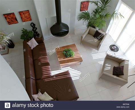 Living Room Birds Eye View by Birds Eye View Of Modern Living Room With Leather Corner