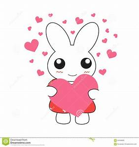 Cute Cartoon Bunny Girl In A Pretty Pink Dress With Hearts ...