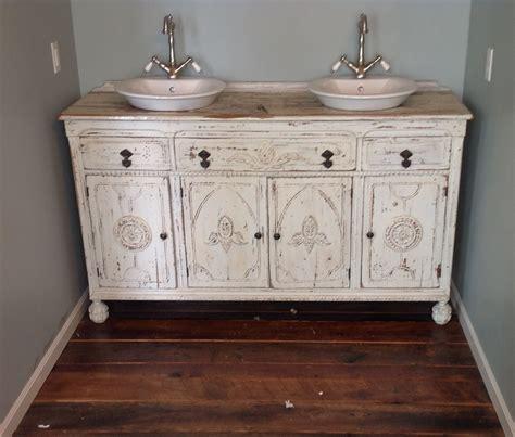 painted shabby chic repurposed bathroom sink vanity