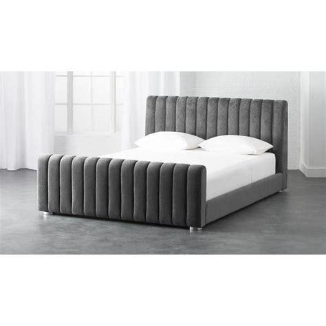 gray channel tufted velvet bed