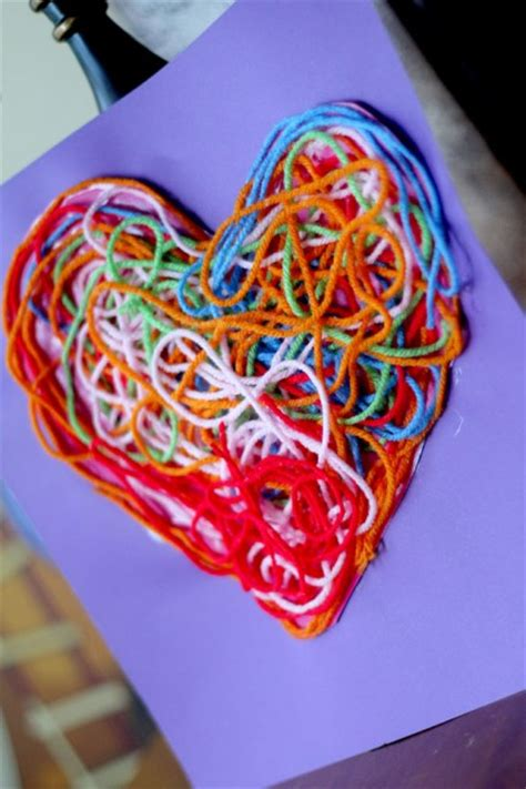 beautiful and playful s day crafts for 466 | Valentines crafts for preschoolers yarn heart