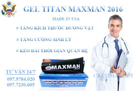 tìm hiểu titan gel maxman tăng kích thước dương vật