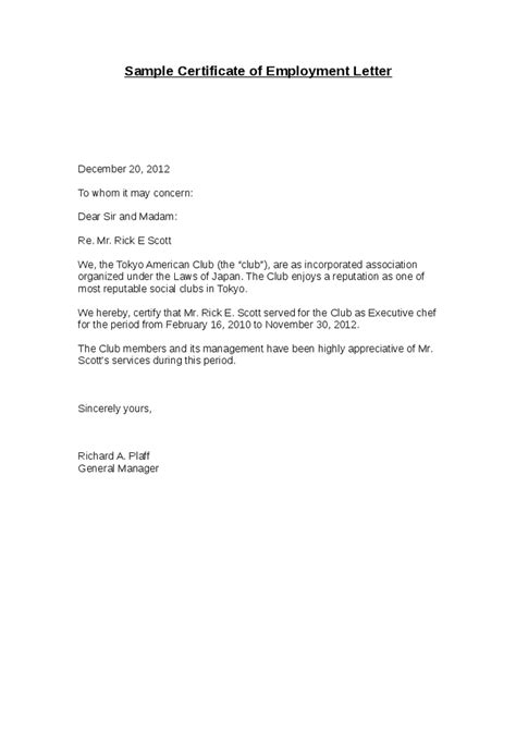 Employment Certificate Letter Sample