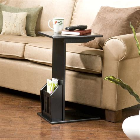 Sofa End Black Table Side Couch Tv Coffee Tray Snack Book