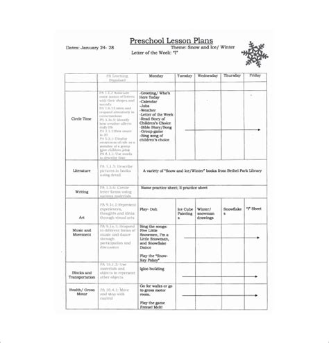 preschool lesson plan template 11 free pdf word format 558 | Seasons Preschool Lesson Plan Free PDF Template