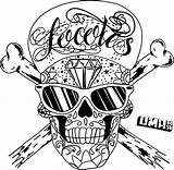 Skull Coloring Crossbones Pages Hip Hop Printable Scary Evil Getcoloringpages Easy sketch template