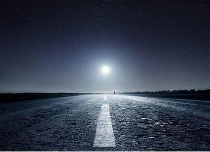 Night Moon Moonlight Road Landscape Nature Starry