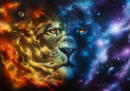 elemental lion fantasy abstract background wallpapers