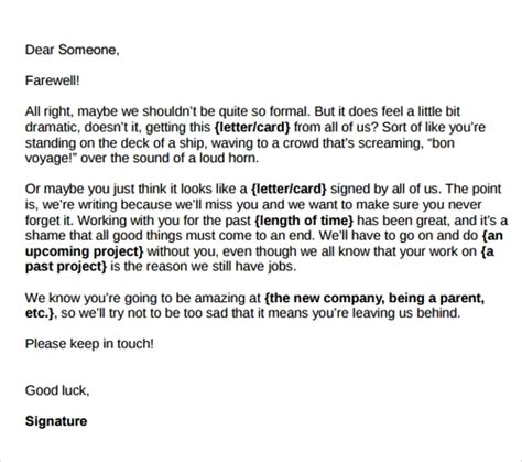 sample farewell letters   workers  word