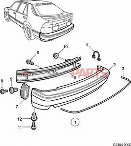 9082272  Saab Rear Bumper Cover  Grey  - 9000 Cs 1990-98