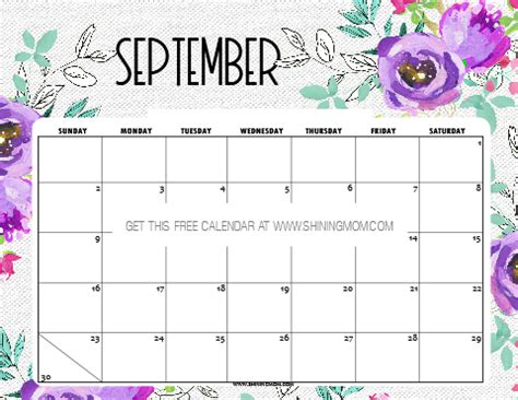 printable september  calendar  planners
