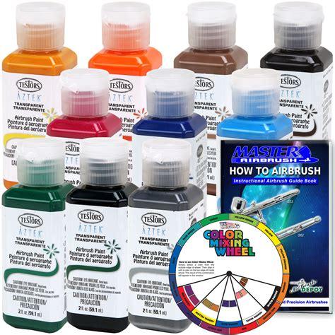 10 color testor aztek premium transparent acrylic airbrush paint color mixing wheel